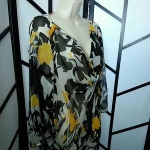 Peter Nygard Women's Sheer Yellow Black Tunic 18